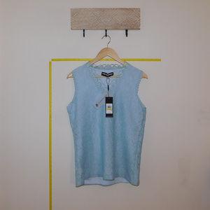 Karl Lagerfeld Paris Pale Blue V Neck Lace Blouse